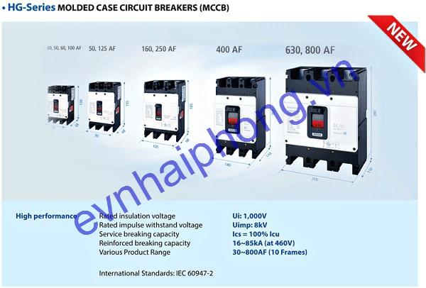Aptomat HYUNDAI series HG 100A-1250A