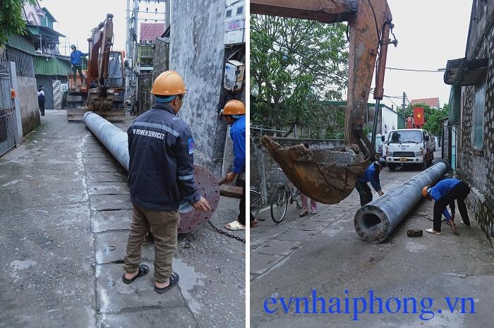 Cột điện bê tông mập, cột điện to